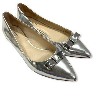 Coach Wilma Silver Flat Pointed Toe Bow 7B